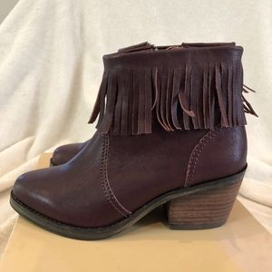 Lucy Wine Fringe Leather Boots